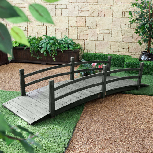 8 Ft Garden Bridge Handrails Weather Resistant Dark Wood