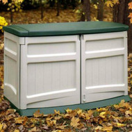 Weather Resistant Outdoor Resin Storage Shed in Tan with Green Lid -  20 Cubic Ft Capacity GLSC519847421