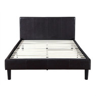 Queen Dark Brown Espresso Faux Leather Upholstered Platform Bed with Padded Headboard DEXB51987511