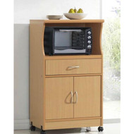 Beech Wood Microwave Cart Kitchen Cabinet with Wheels and Storage Drawer HMCB541987741