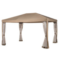 10ft x 12ft Fully Enclosed Solid Steel Garden Gazebo Patio Canopy with Mosquito Netting Tan/Brown AABP10121488