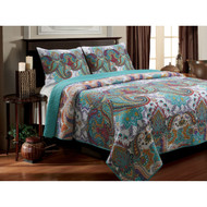 Twin size 3-Piece Cotton Quilt Set in Teal Multi-Color Paisley Pattern NQS519815651