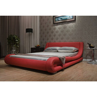 King size Modern Red Faux Leather Upholstered Platform Bed with Curved Headboard LTESCBUP41987521