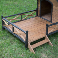 Large Solid Wood Outdoor Dog House with Spacious Deck Porch BGLDH9874561