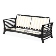 Full size Modern Futon Frame with Flared Hardwood Arms and Slatted Metal Frame SCEFPE9684151