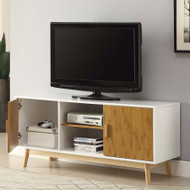 Modern 47-inch Solid Wood TV Stand in White Finish and Mid-Century Legs CMOWTVS968244861