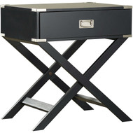 Dark Grey 1-Drawer End Table Nightstand with Modern Classic X Style Legs DVGNET924771