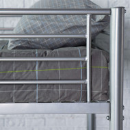 Twin over Twin Durable Metal Bunk Bed with Ladder in Silver Finish DCBTS658815