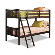 Twin over Twin Solid Wood Bunk Bed in Espresso Finish SCEB1985212