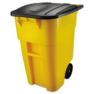 50 Gallon Yellow Commercial Heavy-Duty Rollout Trash Can Waste/Utility Container E24GKY88311
