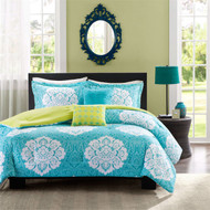 Full size 5-Piece Comforter Set in Teal Blue White Damask with Green Revers FUCOMSTE49824771