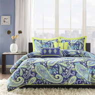 Full / Queen size 5-Piece Paisley Comforter Set in Blue and Yellow Colors BFQPC752641