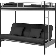 Twin over Futon Bunk Bed in Silver / Black Metal Finish DSBPCES1985752