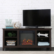 Espresso Wood 58-inch TV Stand Electric Fireplace Space Heater ESPWTVSHS7982491