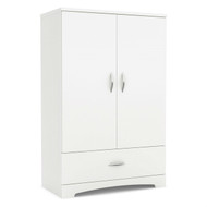 2-Door Armoire Wardrobe Cabinet with Bottom Storage Drawer in White Wood Finish SCAW6571546