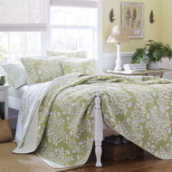 Twin size 2-Piece Quilt Set with Coverlet and Sham in Floral Sage Green White STQG18146