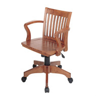 Classic Wooden Bankers Chair with Wood Seat and Arms WBCFW1477951