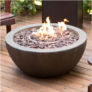 28-inch Round Gray Enviro Stone Fire Pit Bowl with Propane Tank Hideaway Table REMFP58419871