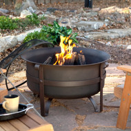 Heavy Duty 34-inch Fire Pit Deep Steel Cauldron with Screen Stand and Cover THFICS451
