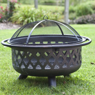 36-inch Bronze Fire Pit with Grill Grate Spark Screen Cover and Poker RBCTS4589713-4