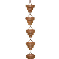 Pure Copper 8.5-Ft Long Rain Chain with Wide Mouth Funnel Cups CBRM459361