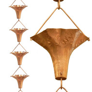 Floral Wide Mouth Copper Rain Chain with Easy Install Copper Hook MCABR1984881