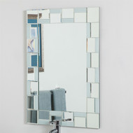 Contemporary 31.5 x 23.6 Rectangle Bathroom Mirror with hand cut Mirrors Edging DQMBM968518