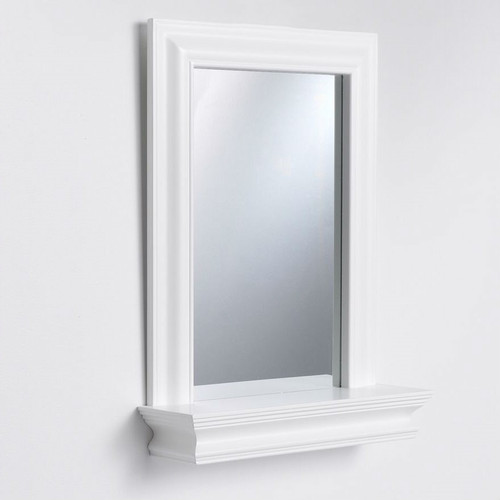 white frame bathroom mirror framed bathroom mirror rectangular bottom shelf white 21529