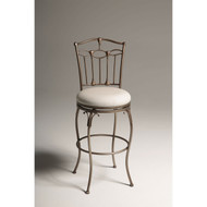 Bronze Metal Finish 30-inch Bar Stool with White Upholstered Swivel Seat CSB114581