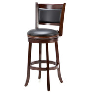 Cherry 29-inch Solid Wood Bar Stool with Faux Leather Swivel Seat ACB97514