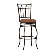 24-inch Metal Swivel Bar Stool with Brown Cushion Seat in Bronze LSB5488