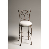 Curved Wire Metal 30-inch Barstool with Soft Upholstered Swivel Seat RFB983515