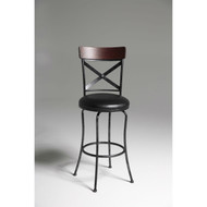 Black and Cherry 30-inch Metal and Wood Bar Stool with Swivel Seat FBAB87651