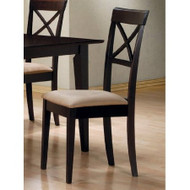 Set of 2 - Cappuccino Cross Back Dining Chair with Fabric Seat MAMCBDFS90