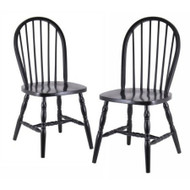 Set of 2 - Classic Solid Wood Dining Chairs in Black Finish WBWDCSOT1006