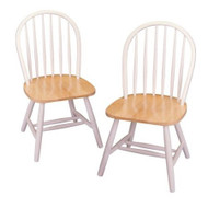Set of 2 - Classic Wood Dining Chairs in Natural & White WNAWDCS989