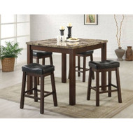 5-Piece Cherry Dining Set with Faux Marble Table Top C5PDSFM314