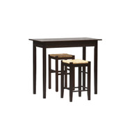 3 Piece Espresso Dining Set with Table and 2 Backless Stools LTPCS12932