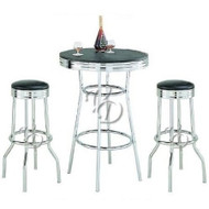 3 Piece Retro Dining Set with Round Table and Two Stools R3PCBSTS155