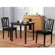 3-Piece Wood Dining Set with Square Table and 2 Chairs in Black MBDS156273