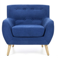 Blue Linen Upholstered Armchair with Mid-Century Modern Style Wood Legs- BCPAC598715