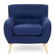 Dark Blue Linen Upholstered Tufted Armchair w/Modern Mid-Century Style Wood Legs- DBMCUPC958481