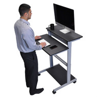 Black 32-inch Adjustable Height Standing Computer Desk with Silver Steel Frame- BAHCD198276