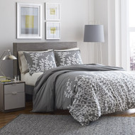 Full/Queen 100% Cotton Comforter Set with Grey White Floral Branch Pattern- CBGCFQ568481