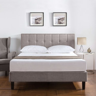 Twin Medium Grey Upholstered Platform Bed Frame with Button Tufted Headboard