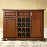 Cherry Wood Dining Room Storage Buffet Cabinet Sideboard with Wine Holder LSC289716
