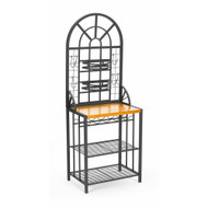 Black Steel Bakers Rack with Utility Hooks and Storage Shelving SED1120
