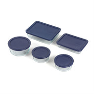 10 Piece Glass Bakeware Set, Blue Lids, Oven/Microwave/Dishwasher/Freezer Safe SPBS1548515