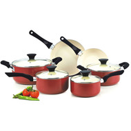 10-Piece Nonstick Ceramic Coating Cookware Set in Red CHR609453