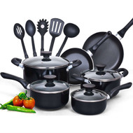 15-Piece Non-Stick Kitchen Cookware Set in Black CNH57493